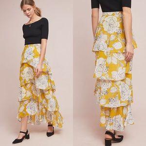 Anthropologie Maeve Mosier Tiered Maxi Skirt
